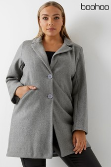 Boohoo Plus Button Wool Look Coat