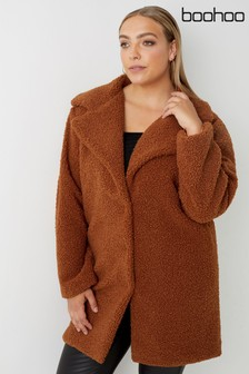 Boohoo Plus Teddy Faux Fur Coat