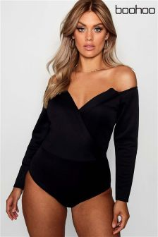 Boohoo Plus Wrap Front Structured Bodysuit