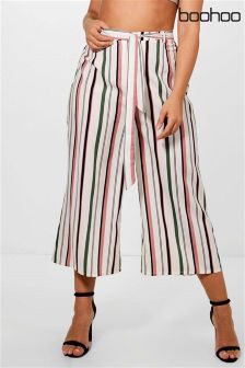 Boohoo Plus Striped Belted Culotte Trousers