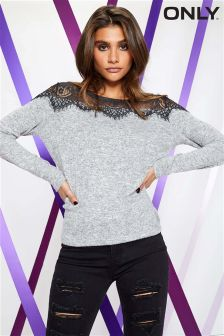 Only Lace Long Sleeve Pullover Jumper