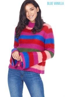 Blue Vanilla Rainbow Stripe Flare Sleeve Jumper