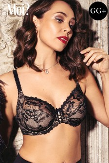 Pour Moi Sofia Lace Embroidered Side Support Bra GG+