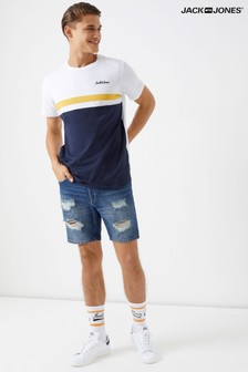 Jack & Jones Distressed Dark Wash Denim Shorts