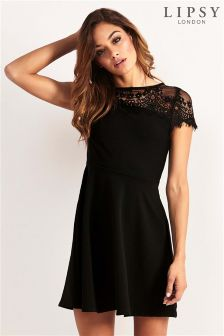 Lipsy Lace Cap Sleeve Skater Dress