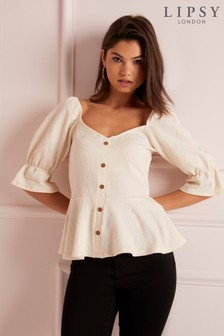 Lipsy Horn Button Puff Sleeve Top