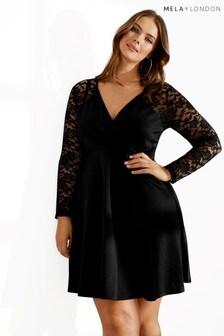 Mela London Curve Lace Sleeve Front Wrap Dress