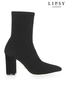 Lipsy Block Heel Knitted Sock Boots