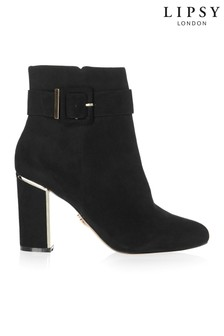 Lipsy Covered Buckle Block Heel Ankle Boots