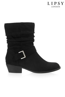 Lipsy Ruched Buckle Ankle Boots