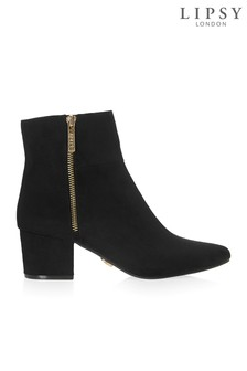 Lipsy Zip Detail Almond Toe Ankle Boots