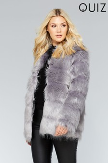 Quiz Faux Fur Shaggy Panel Jacket
