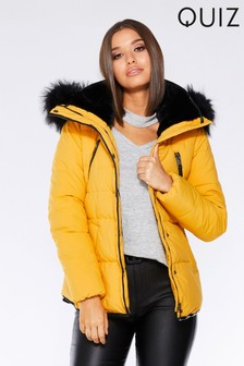 Quiz Faux Fur Collar Padded Belted Jacket