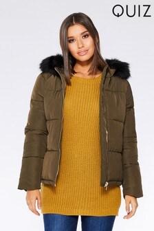 Quiz Faux Fur Collar Padded Zip Jacket