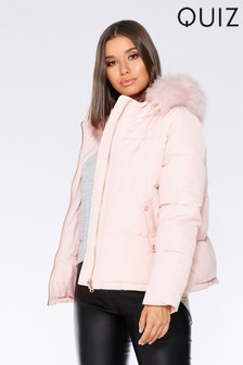 Quiz Faux Fur Trim Padded Cropped Jacket