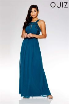 Quiz Embellished Keyhole Front Maxi Dress