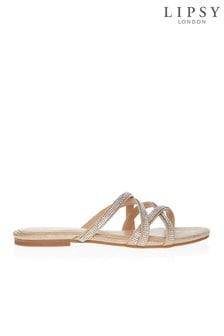 Lipsy Asymmetric Strap Diamanté Flat Sandals
