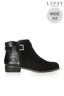 Lipsy Wide Fit Buckle Detail Flat Ankle Boots