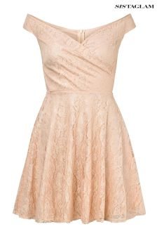Sistaglam Lace Bardot Prom Dress
