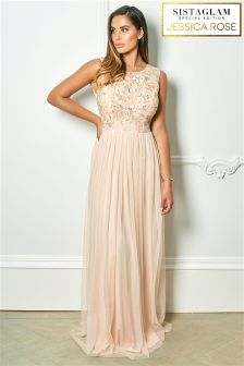 Sistaglam Loves Jessica Rose Embroidered Bodice Chiffon Maxi Dress