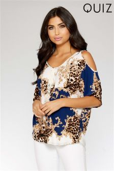 Quiz Leopard Print Cold Shoulder Tassel Top