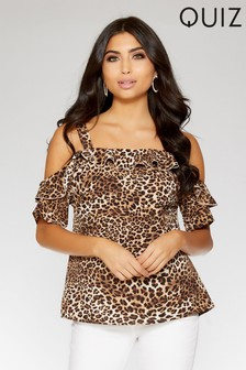 Quiz Leopard Print Cold Shoulder Frill Detail Top