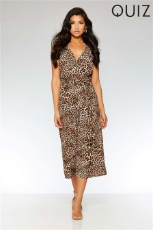 Quiz Leopard Print Cross Over Culotte Jumpsuit