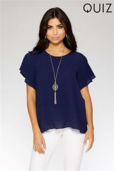 Quiz Bubble Frill Necklace Top