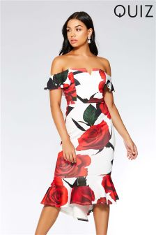 Quiz Rose Print Bardot Bodycon Midi Dress