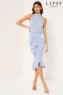 Lipsy Halter Satin Panel Midi Frill Dress