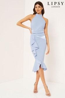 Lipsy Halter Satin Panel Midi Frill Dress