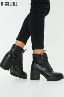 Missguided Mid Heel Hook Eye Ankle Boots