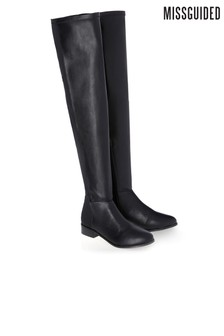Missguided Stretch Back Flat Over The Knee Boots