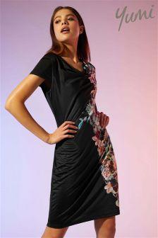 Yumi Midnight Floral Print Cowl Neck Dress