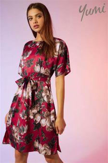 Yumi Rose Bud Satin Kimono Dress