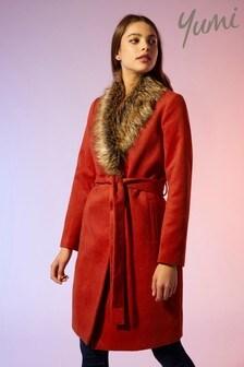 Yumi Faux Fur Wrap Coat