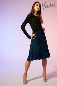 Yumi Pleated Lurex Stripe Dress