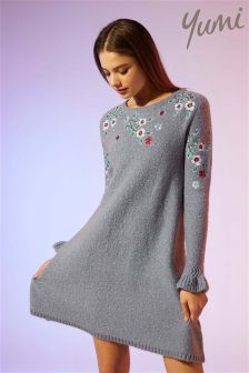 Yumi Floral Embroidered Knitted Tunic Dress