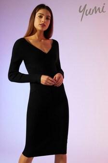Yumi Knitted Rib Bodycon Dress