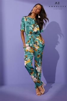 Angeleye Floral Print Shirred Waist Jumpsuit