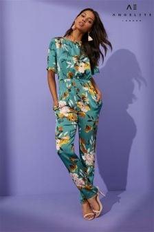Angeleye Overall mit Blumenmuster und gesmokter Taille