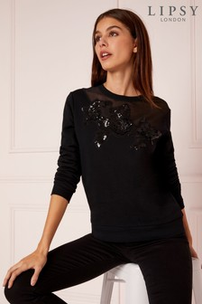 Lipsy Lace Sequin Sweat Top