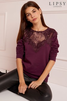 Lipsy Lace Sweat Top