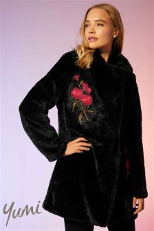 Yumi Embroidered Faux Fur Coat