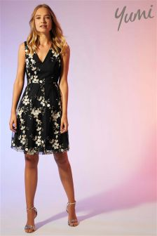 Yumi Floral Embroidered Tulle Dress