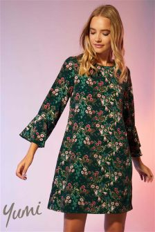 Yumi Retro Floral Flute Sleeve Tunic Dress
