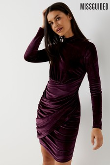 Missguided High Neck Velvet Skirt Dress