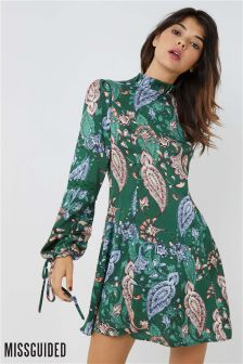 Missguided Paisley Print Satin Dress