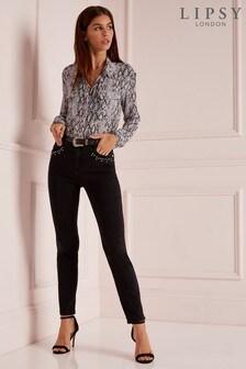 Lipsy Meghan Slim Leg Stud Belted Regular Length Jeans