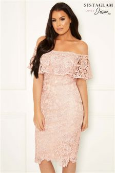 Sistaglam Loves Jessica Bardot Lace Dress